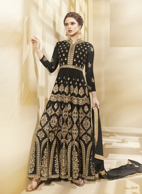 Black Multi Resham Work Georgette Salwar With Dupatta