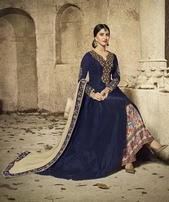 Blue multi resham work banarasi silk salwar