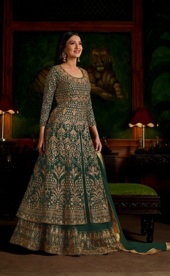 Green multi resham work georgette Anarkali Suit