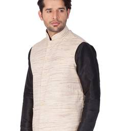 Beige Cotton Blend Nehru Jacket