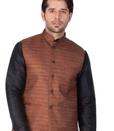 Brown Cotton Blend Nehru Jacket