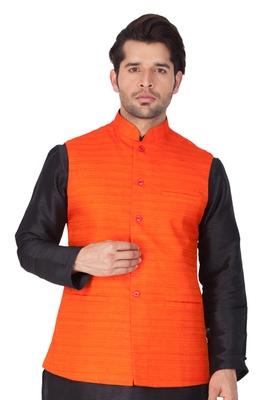 Orange Cotton Blend Nehru Jacket