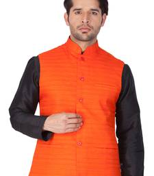 Orange Cotton Blend Nehru Jacket