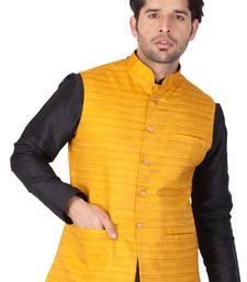 Yellow Cotton Blend Nehru Jacket