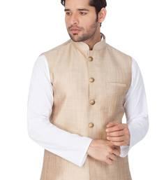 Beige Cotton Blend Nehru Jacket