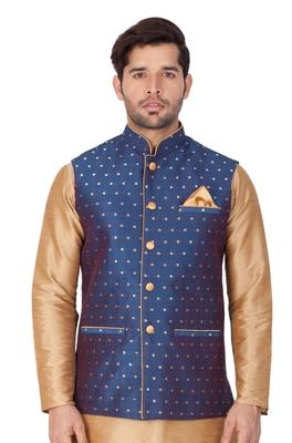 Blue Cotton Blend Nehru Jacket
