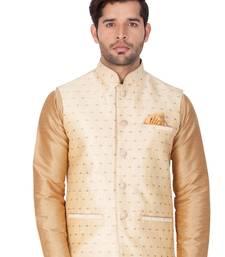 Gold Cotton Blend Nehru Jacket