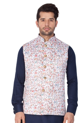 Multicolor Cotton Blend Nehru Jacket