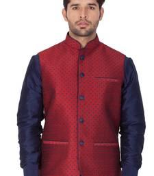 Maroon Cotton Blend Nehru Jacket