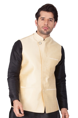 Gold Cotton Blend Nehru Jacket