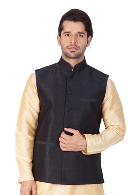 Black Cotton Blend Nehru Jacket