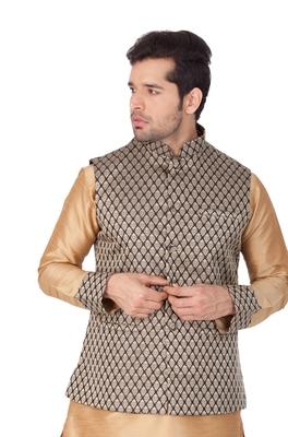 Black Silk Blend Nehru Jacket