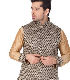 Black Silk Blend Nehru Jacket