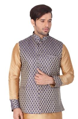 Blue Silk Blend Nehru Jacket