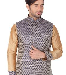 Blue Silk Blend Nehru Jacket
