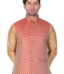 Maroon Silk Blend Nehru Jacket