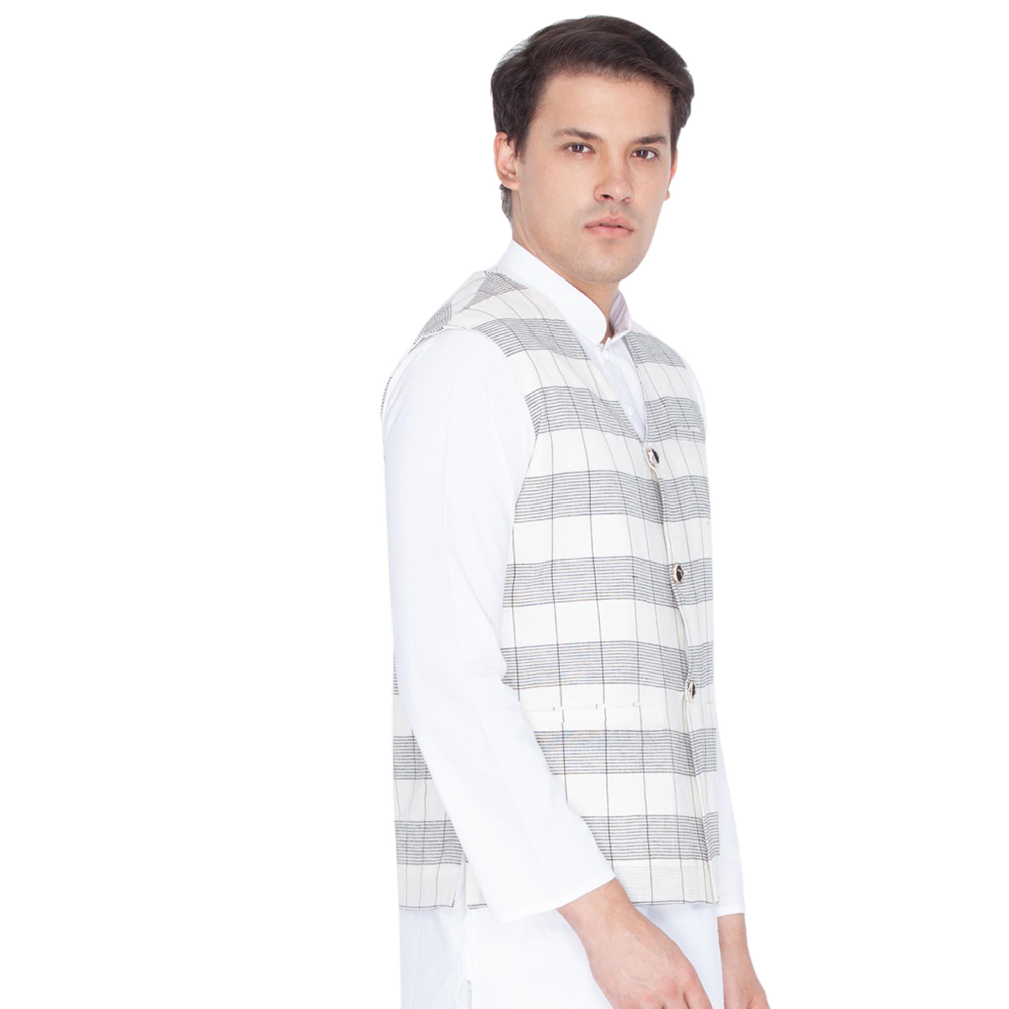 467e16aae White cotton modi nehru jacket