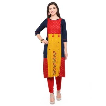 Multicolor hand woven rayon kurtis