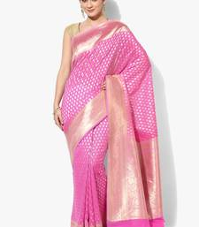 Pink embroidered cotton silk banarasi saree with blouse