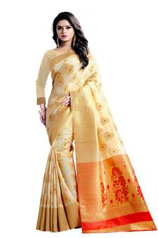 016a4da53d Cream woven banarasi saree with blouse