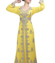Yellow Georgette Islamic Kaftan With Zari And Stone Work