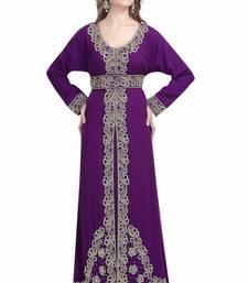 Purple georgette islamic kaftan with zari and stone work