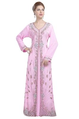 Baby Pink Georgette Islamic Kaftan With Zari And Stone Work