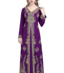Purple Georgette Islamic Kaftan With Zari And Stone Work