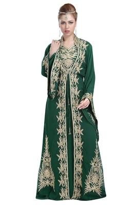 Bottle Green Georgette Islamic Kaftan With Zari And Stone Work