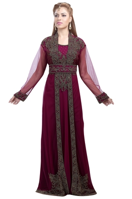 Plum Georgette Islamic Kaftan With Zari And Stone Work