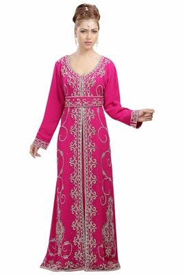 Pink Georgette Islamic Kaftan With Zari And Stone Work