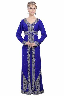 Royal Blue Georgette Islamic Kaftan With Zari And Stone Work