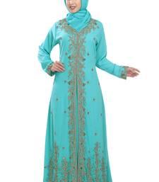 Turquoise Georgette Islamic Kaftan With Zari And Stone Work