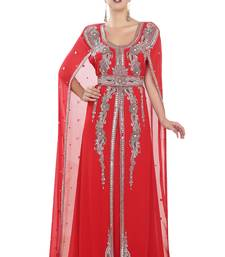 Red georgette islamic kaftan with zari and stone work