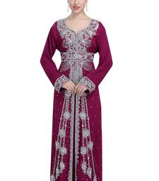 Wine georgette islamic kaftan with zari and stone work