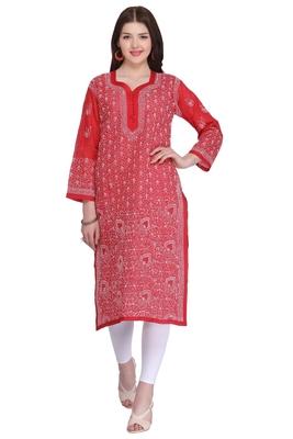 Maroon embroidered cotton chikankari-kurtis