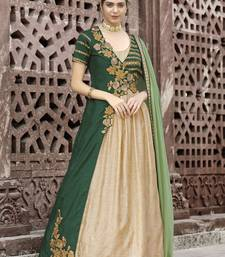 Green Embroidered Fancy Fabric Anarkali Salwar With Dupatta