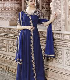 Blue Embroidered Faux Georgette Anarkali Salwar With Dupatta