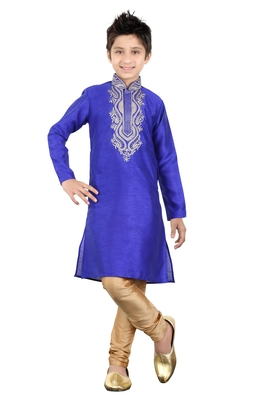 Royal blue art silk embroidery kids boys kurta pyjama