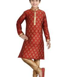 Buy Maroon art silk printed kids boys kurta pyjama boys-kurta-pyjama online