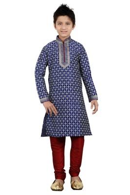 Navy Blue Art Silk Printed Kids Boys Kurta Pyjama