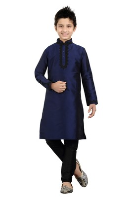 Navy Blue Art Silk Dori Kids Boys Kurta Pyjama