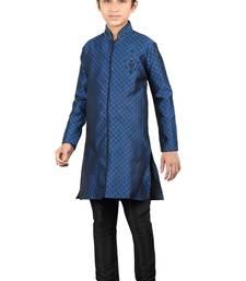 Buy Navy blue brocket hand work kids boys indo western dress boys-indo-western-dress online