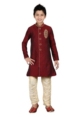Maroon Brocket Hand Work Kids Boys Indo Western Dress