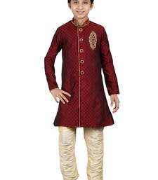 Maroon Brocket Hand Work Kids Boys Indo Western Dress