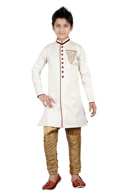 Off white brocket hand work kids boys indo western dress