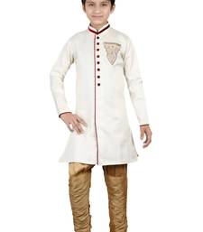 Buy Off white brocket hand work kids boys indo western dress boys-indo-western-dress online