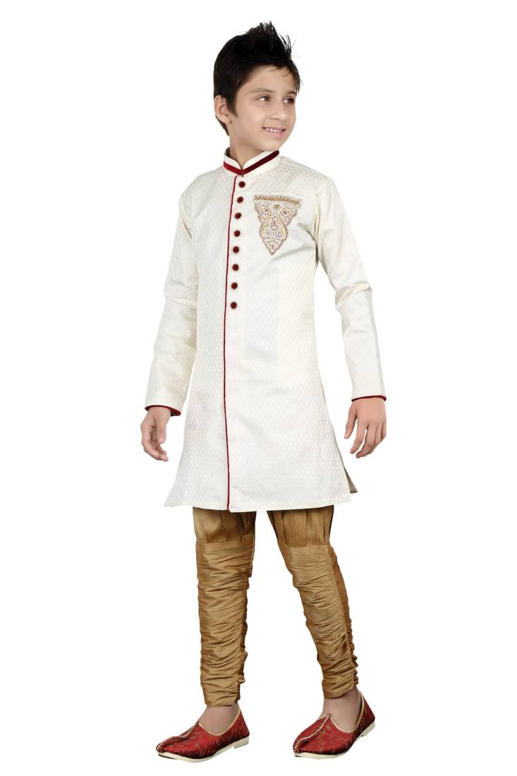 cea05b8def3d Off white brocket hand work kids boys indo western dress - Indian ...