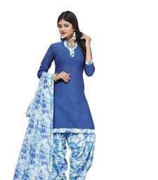 Buy Blue digital print cotton salwar with dupatta dress-material online