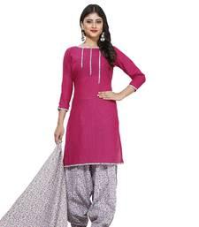 Buy Pink digital print cotton salwar with dupatta dress-material online